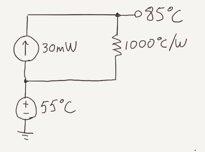 An example of a 30C temperature rise per Ohm's Law