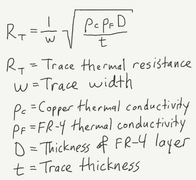 solution for thermal impedance of the trace