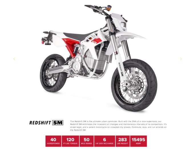 Alta Motors' Redshift SM electric motorcycle